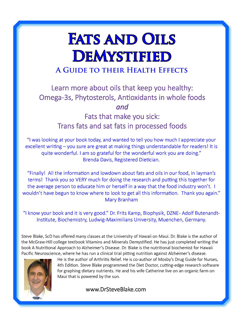 Back cover Fats and Oils Demystified, A Guide to their Health Effects by Steve Blake, ScD